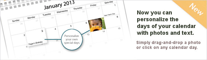 Picaboo allows you to personalize calendar days with photos and text